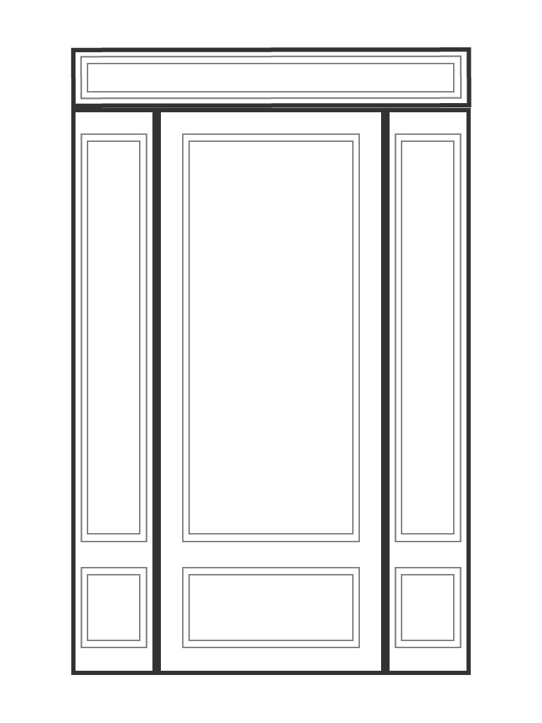 "Singe 6' 8"" door with 2 sidelights and rectangluar transom"