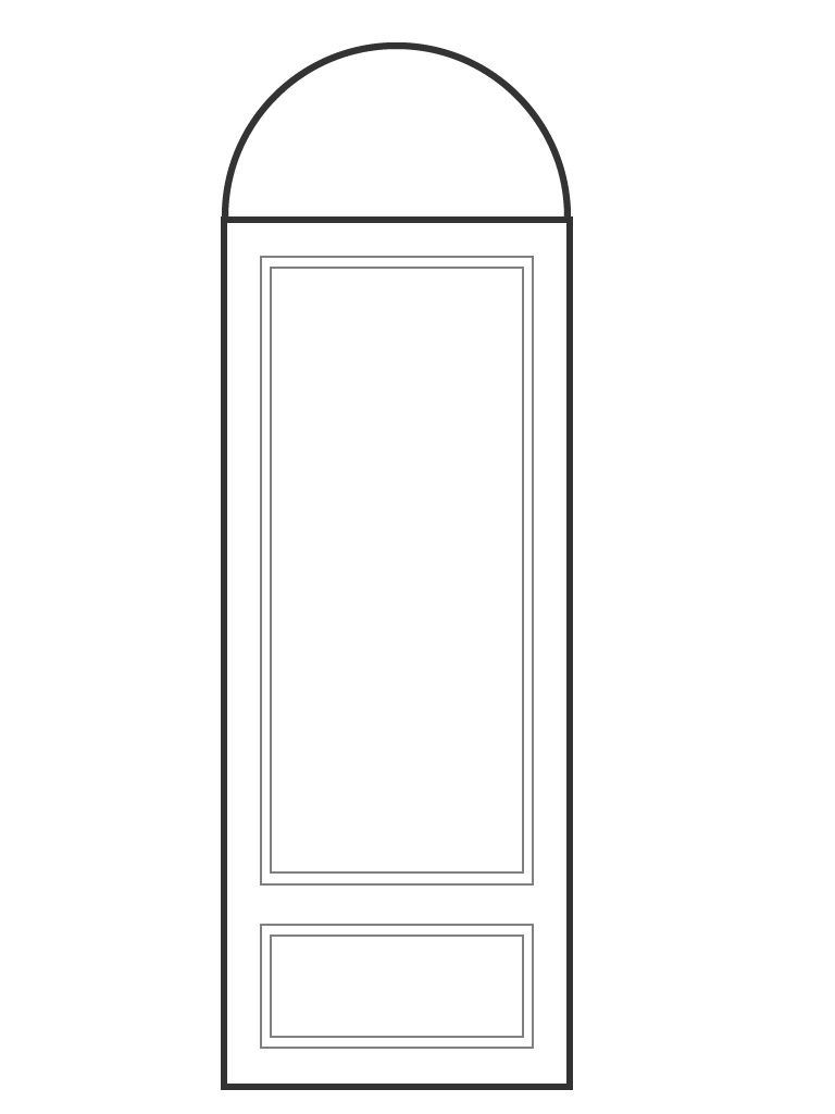 "Single 6' 8"" door and half circle transom"