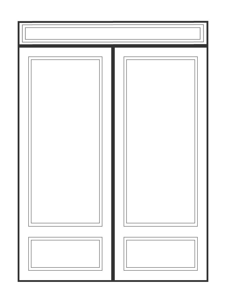 "Double 6' 8"" doors with rectangular transom entry configuration"