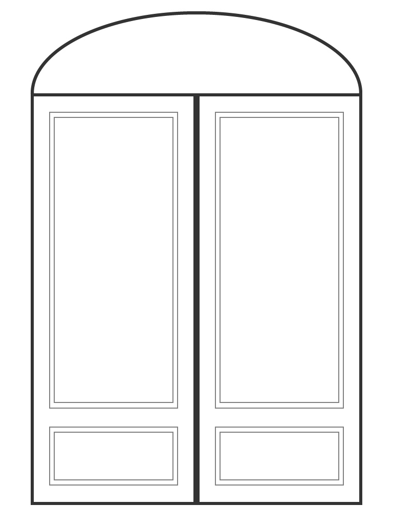 "Double 6' 8"" doors with eliptical transom"
