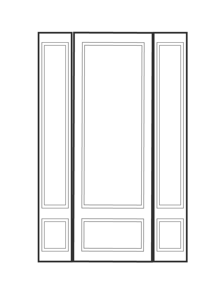"Single 8' 0"" door with 2 sidelights"