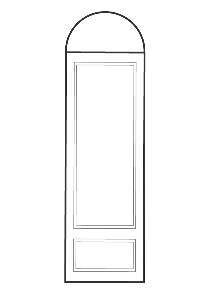 "Single 8' 0"" door and half circle transom"
