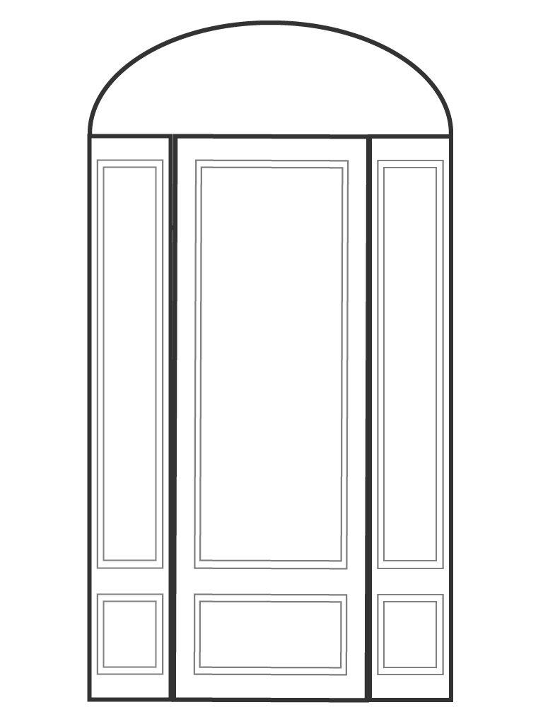 "Single 8' 0"" door with 2 sidelights and eliptical transom"