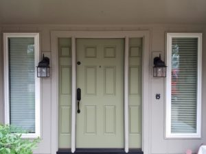 Smooth Fiberglass 6 Panel Door Unit With 3 panel Sidelights