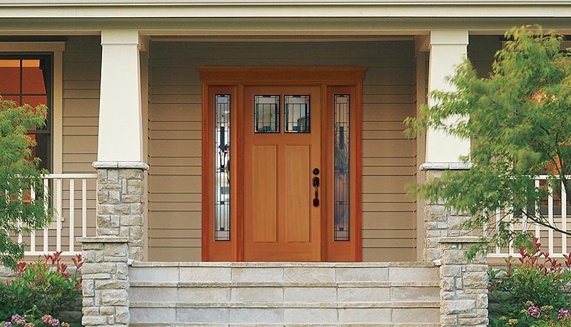Craftsman Fiberglass Door & Full View Sidelights