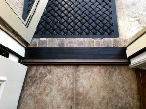 Fiberglass Back Door, New Storm Door with Bronze Threshold