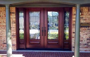 After - Wood Mahogany Solid Wood Front Entry Doors & Sidelights