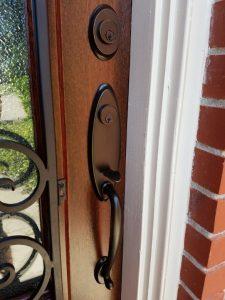 New Wood Mahogany Door, Iron, Glass, Hardware In Existing Jamb