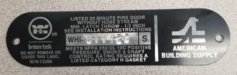 An example of one of our manufacture's fire rated door labels.
